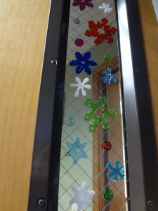 2 - Snowflake gel clings for the office door