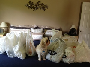 Looks like we emptied the stores! (The little dog was not purchased today)