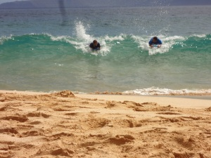 The boys catching a wave!