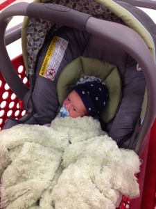 First shopping trip! Note the content baby with the pacifier!