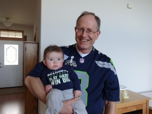 Owen and Grandpa are ready for the big game