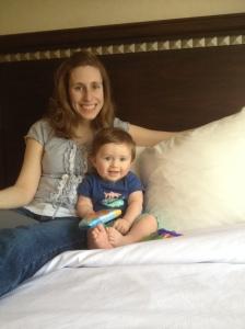 Breaking the hotel room in!