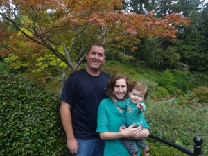 Trying to get a family photo at Butchart Gardens