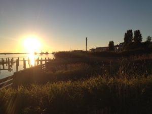 Sunset walk on the river in Steveston Village