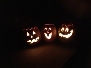 All lit up - Amy's pumpkin, Owen's pumpkin and Jeremy's pumkin. This might be the best pumpkin I've ever done!