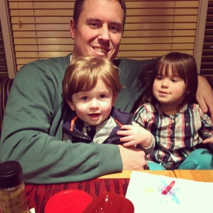 Hanging with Uncle Eric and Brinley at Red Robin! Yum!a
