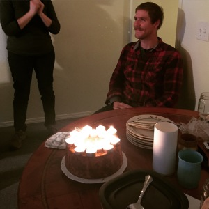Celebrating Andrew's birthday. It's the one day a year where April is 26, Andrew is 27, and I am 28!