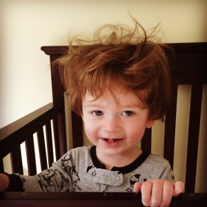 This wild boy has some serious bedhead!