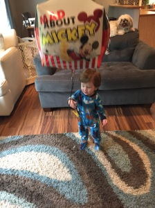 Grandpa & Grandma brought Owen some cheer with a giant Mickey balloon. Makes the days at home more fun!