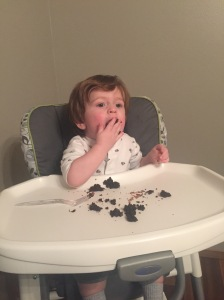 Owen enjoyed my birthday cake! This kid loves chocolate!