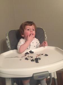 Owen enjoyed my birthday cake! This kid loves chocolate!