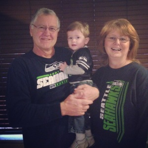 Supporting the Seahawks with Papa & Nana