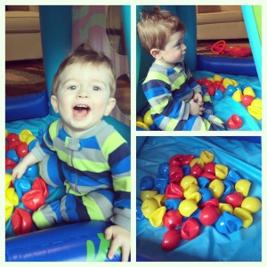 This ball pit no longer contains round balls thanks to our dog, Toby. Good thing Owen doesn't seem to mind!