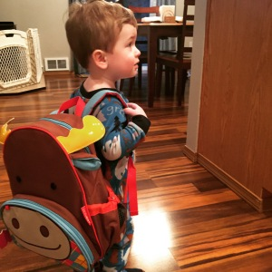 New backpack! We are going to use this as his diaper bag now, so Owen can carry around his own stuff.