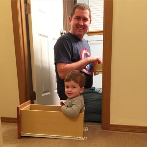 Helping Dad install more cabinet latches
