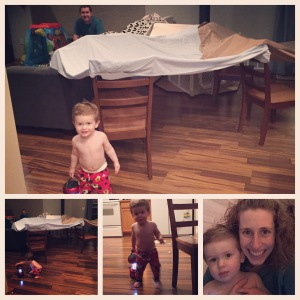 Making forts and playing with a lantern