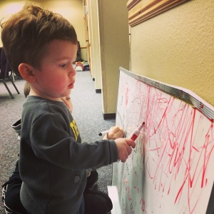 He has discovered the white board thanks to the kiddos are church