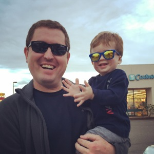 While clothing shopping for some new size 18 month outfits, Jeremy felt that Owen needed a pair of sunglasses. Now they are a pair of cool dudes!