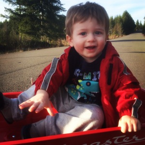 Going for a ride in his red wagon
