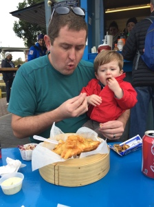 Fish & Chips at Go Fish - Owen loved their french fries and the dog that sat near us.
