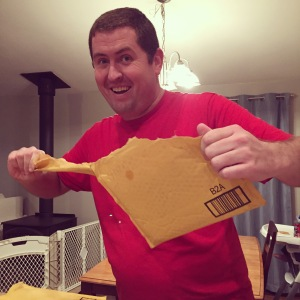 Jeremy opening his many birthday packages from Amazon