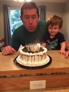 Ice cream cake and fire! Good combo!