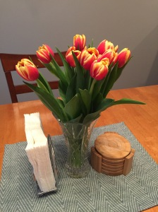 Jeremy brought home tulips from town