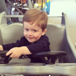 Running Saturday morning errands with Mom & Dad! Home Depots carts provide the most fun!