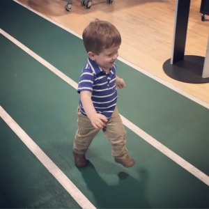 Running the track at Dick's Sporting Goods