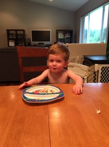 Owen wanted to eat dinner at the table tonight with Jeremy and I. It was a bit crazy, but a fun experiment.