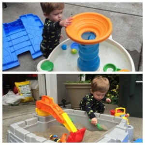 Enjoying his new sand box and water table. So much fun to be had!