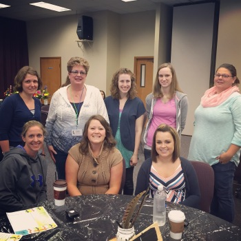 """Our theme this year was """"Be You, Bravely"""" so this is my """"Valiant"""" table. I am so grateful for each one of these ladies. I am blessed to have been their table leader this year!"""