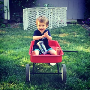 Owen loves his wagon. He asks or should I say demands rides daily.