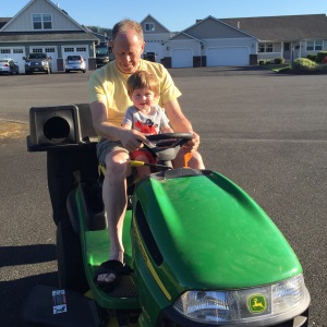 Owen might want John Deere rides every time he visits Grandpa now!