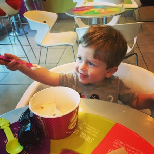 Running errands together has some perks - like stops for frozen yogurt!