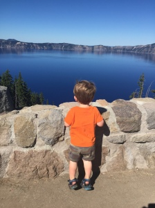 Owen looking at ba boat aka Crater Lake