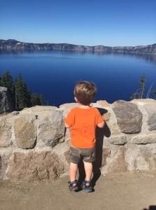 Owen looking at ba boat aka Crater Lake