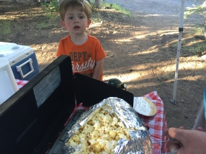 Owen loves popcorn so Jiffy Pop was a fun treat!