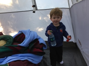 Hanging in the tent while we pack things up