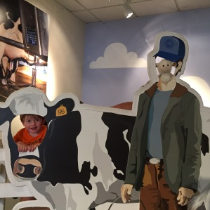 Owen and Lamby at the Tillamook Cheese Factory