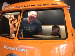 "Every trip to Tillamook wouldn't be complete with a ride in Owen's favorite ""ba bus"". He loves this bus deeply and with his whole heart."