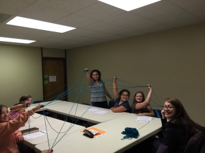 Hanging with my class on Wednesday night. This yarn game is a September tradition!