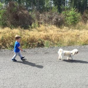 Such a big boy - taking the dog for a walk!