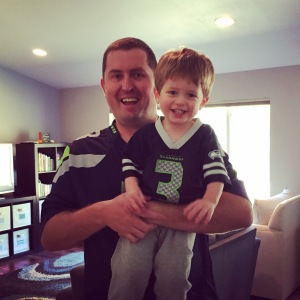 Jeremy and Owen supporting the Seahawks for a few minutes before Jeremy went out of town