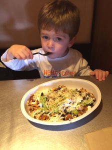 Big boy with his own meal at Chipotle
