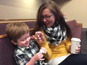 Owen hanging with Auntie at church. Probably our last Sunday for a few weeks.
