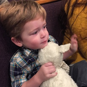 Lamby made it to church too... I was grateful that I was able to get Owen into the nursery without Lamby by his side. It took some distracting!