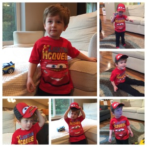 Owen in his Ligthening McQueen outfit for Fall Fest. He wasn't interested in having his picture taken or keeping his hat on.